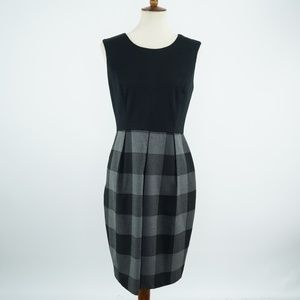 CONNECTED Womens SZ 8 Black Plaid SHEATH Dress